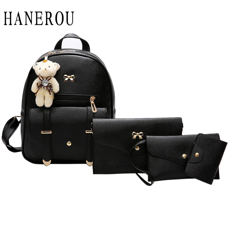 Fashion Bear Backpack Women Bag Big Bow School Bags For Girls 4 Pcs Backpack Female High Quality Leather Backpack Shoulder Bags new arrival 2017 high quality big pu leather students backpack travelling shoulder bags casual backbag girls fashion backpack