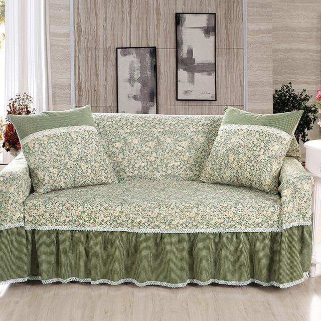 Beautiful Korean Style Bamboo Cotton Linen Fabric Non Slip Sofa Towel Sofa Cover  Single/Two