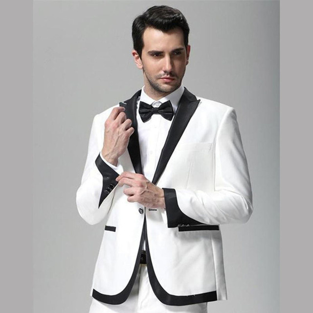 2017 Blanc et Noir Revers De Smoking De Mariage Marié hommes costume Porter  Slim Fit Homme 728920f1f23