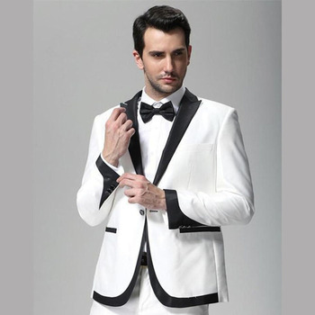 2017 White and Black Lapel Wedding Tuxedo Groom men suit Wear Slim Fit Man Groomsmen Prom Evening Party Mens Suits Dinner Jacket
