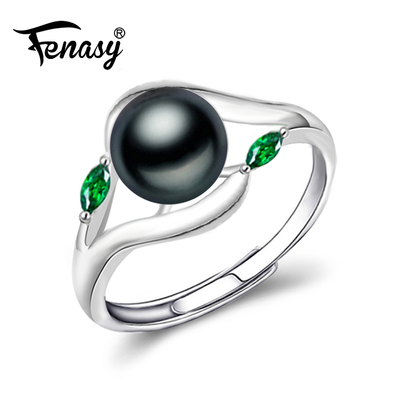 FENASY  925 Sterling Silver Ring freshwater pearl cute ring natural Real Pearl Rings For Women Wedding new party Emerald Ring