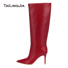 Brand Women Pu Boots Red Gray White Pink The Knee Sexy Female Autumn Winter Lady Thigh High Heel Pointy Toe Long Wholesale