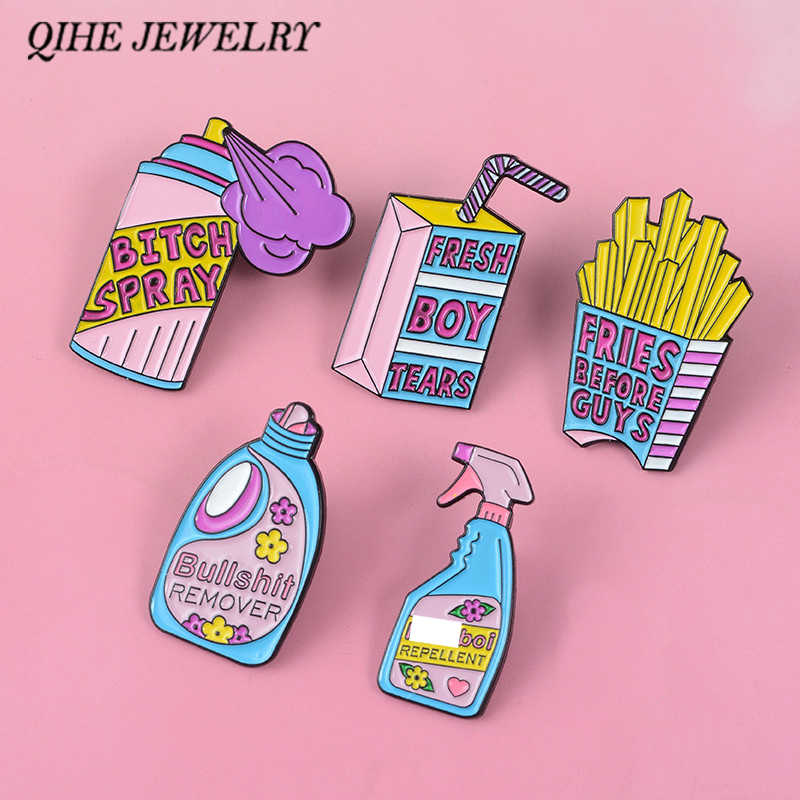 QIHE QH-GIOIELLI Femminista pins collection ~ Femminismo Gioielli Divertente Carino Rosa Blu Repellente Remover Spray Smalto pins Distintivi e Simboli Spilla