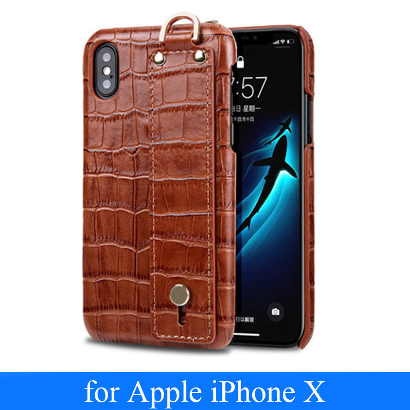 Fashion Crocodile Pattern Case for iPhone X Luxury Genuine Leather Phone Shellor iPhone 8 Plus Back Skin Cover for iPhone 7 Plus