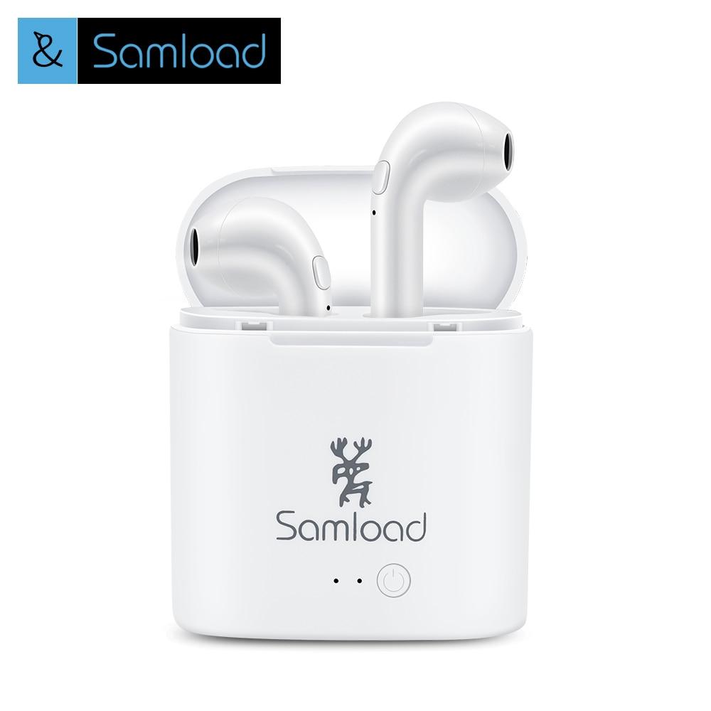Samload TWS Bluetooth Headset Earphones Headphones I7 Mini True Wireless Earbuds For Apple iPhone 6 Plus Xiaomi Charging BoX