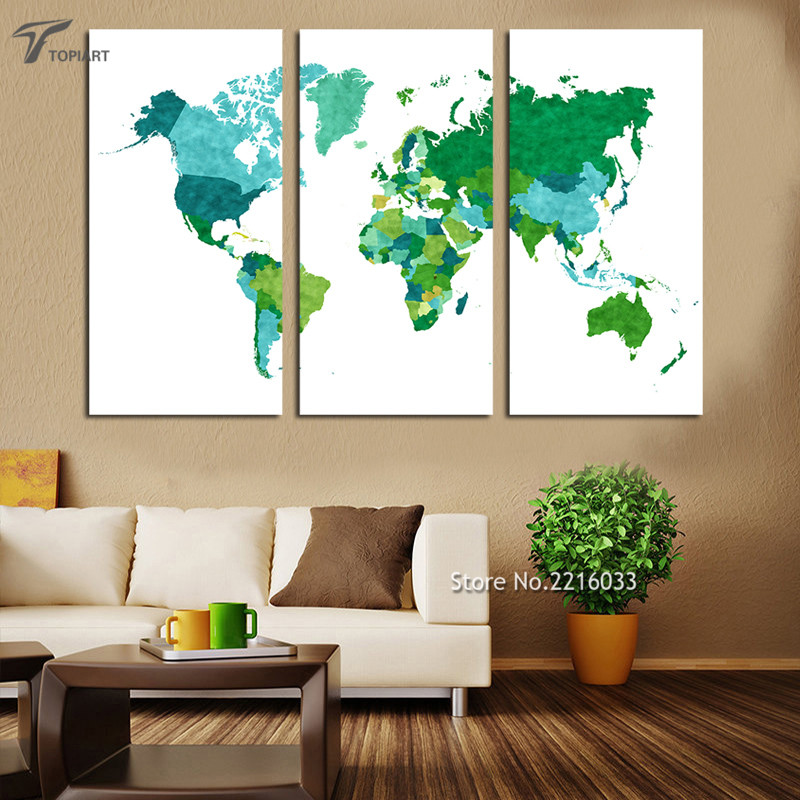 Large abstract world map wall painting green pieces triptych large abstract world map wall painting green pieces triptych canvas art the decorative pictures set for bedroom office no frame gumiabroncs Images