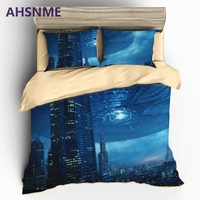 AHSNME HD 3D UFO Bedding Sets Sci Fi Space Themed Duvet Cover Set Pillowcase AU US