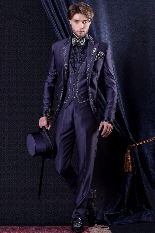 Последние конструкции пальто брюки фиолетовый атлас Вышивка итальянские официальные пользовательские Нарядные Костюмы для свадьбы для Дл