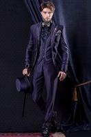 Latest Coat Pant Designs Purple Satin Embroidery Italian Formal Custom Wedding Suits For Men Groom Slim Fit 3 Piece Masculino O7