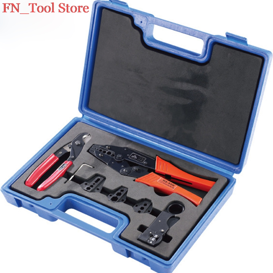 FASEN LY05H-5A2 COMBINATION TOOLS IN PLASTIC BOX CRIMPING crimping pliers wire cutters 4 DIE SETS ly05h 5a2 mini combination tools pack for coaxial cable and wire in plastic box