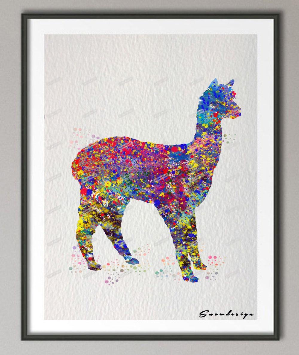 Aliexpress Com Buy Alpaca Llama Original Watercolor
