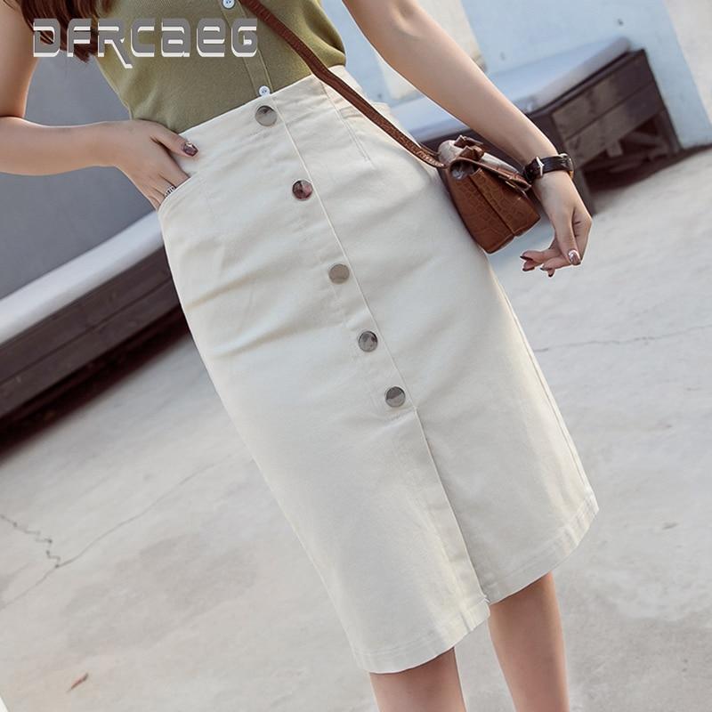 Women Clothes 2019 Office Lady Pencil Skirt High Waist White Row Of Button Hipper Skirt High Elastic Korean Style Women