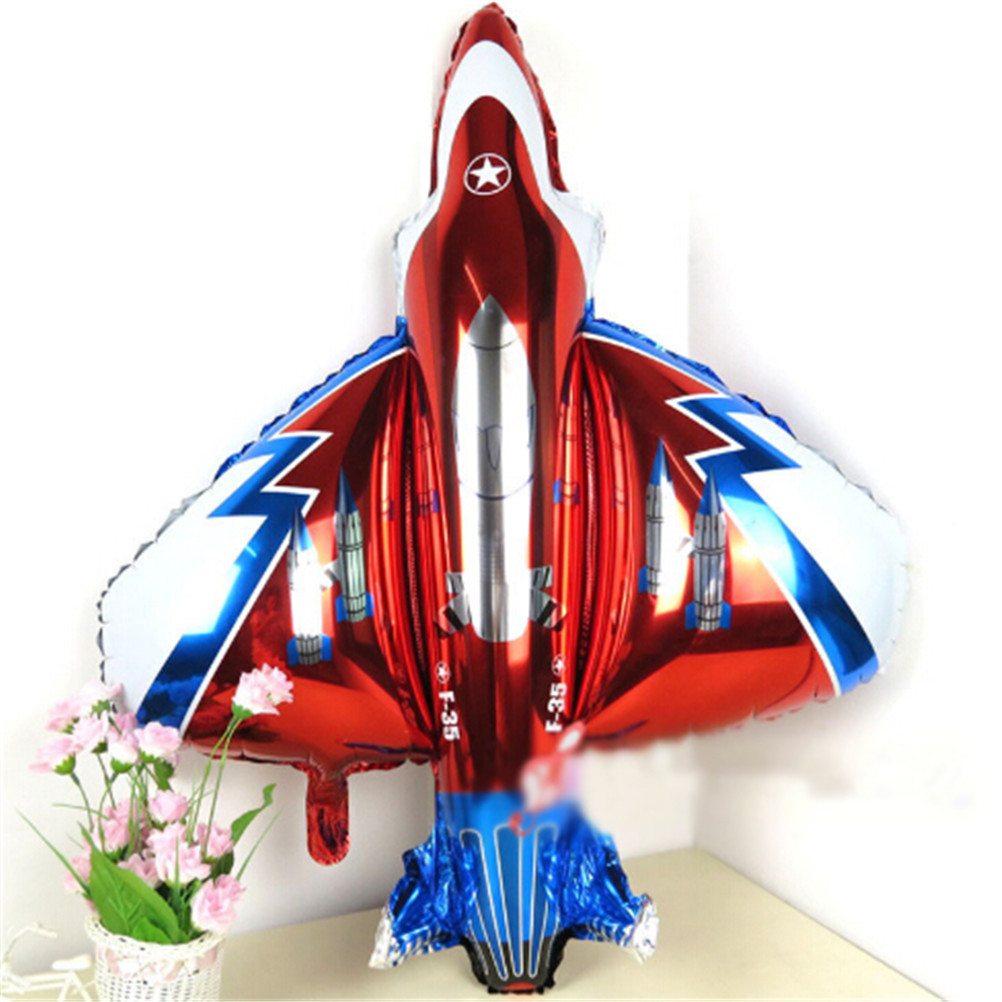 For Baby Boy Shower Kids Birthday Party Decor Giant 87*93cm Fighter Plane Balloons Inflatable Foil Helium Cartoon Plane Ballons