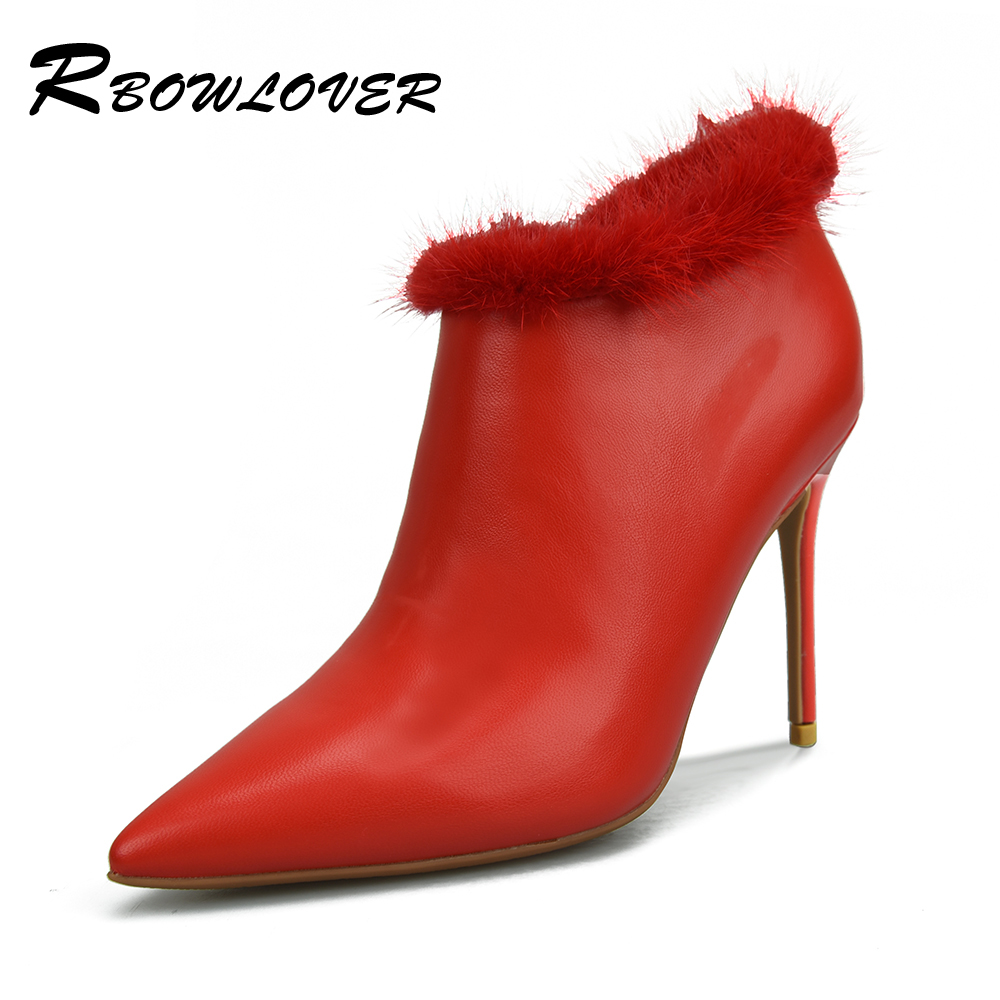 RBOWLOVER 2018 Winter Women Ankle Warm Fur Boots PU Leather Pointed Toe 8/10cm Thin High Heels Sexy Short Boots Big size 33-43 bling pu leather women sexy boots high heels zipper shoes warm fur winter boots for women x1022 35