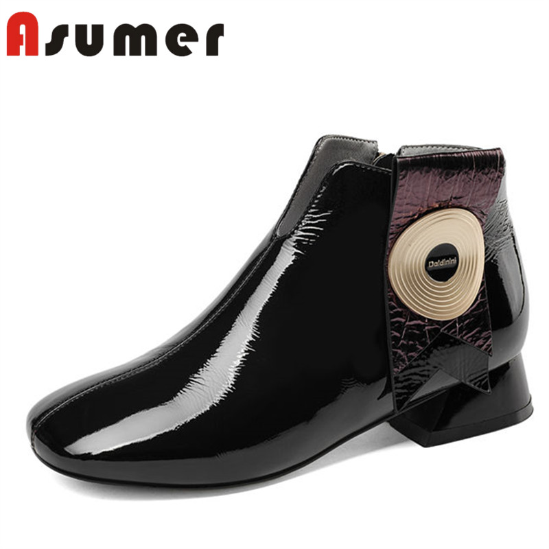 все цены на ASUMER HOT SALE 2018 fashion square toe ankle boots for women metal decoration shallow boots unique zip genuine leather boots