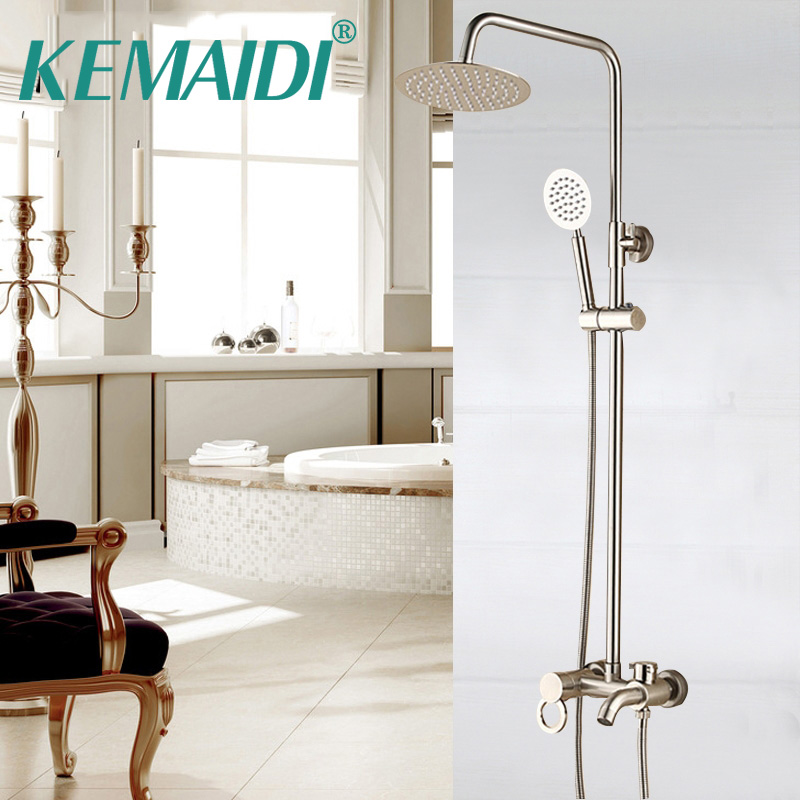 KEMAIDI New Arrival Bathroom Shower Set Nickel Brushed Brass Shower Faucet Set Single Ceramic Handle Tub Mixer Hand Shower