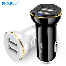 RAXFLY USB Car Charger For Mobile Phone Dual Ports USB Charger For iPhone Samsung LED Display Car Charging Adapter For Xiaomi(China)