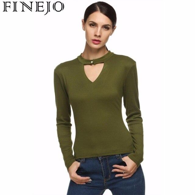 FINEJO Stylish Single Button Keyhole Shirt Women Ladies Long Sleeve Vintage  Tops 2XL Plus Size Casual Slim T-shirt Blusas 4dcfc2baa3d1
