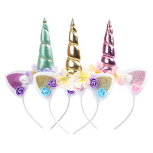 Cat Ears Unicorn Flower Headbands Children Headwear Photo Props Hairbands For Kids Horn Party Hair Accessories