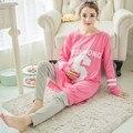 Nova moda outono completa conjuntos de maternidade para as mulheres grávidas amamentação roupas de enfermagem sleepwear nightwear pijama