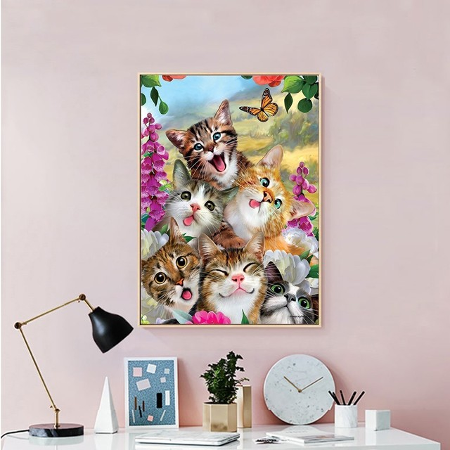 Huacan Diamond Painting Cat Kit Diamond Embroidery Full Square Round Diamond Mosaic Animal New Arrival Home