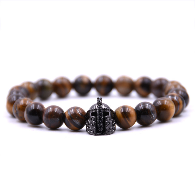 Kang hua charm 5 colors 8mm Natural stone Bracelet Pave CZ black metal helmet Glamour jewelry for Women Men Popular jewelry in Strand Bracelets from Jewelry Accessories