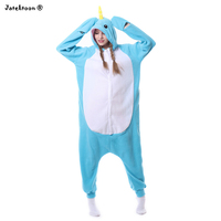 Halloween Adult Animal Footed Blue Whale Pajamas Kigurums Onesie Narwhals Cetacean Fish Tail Cosplay Costume For