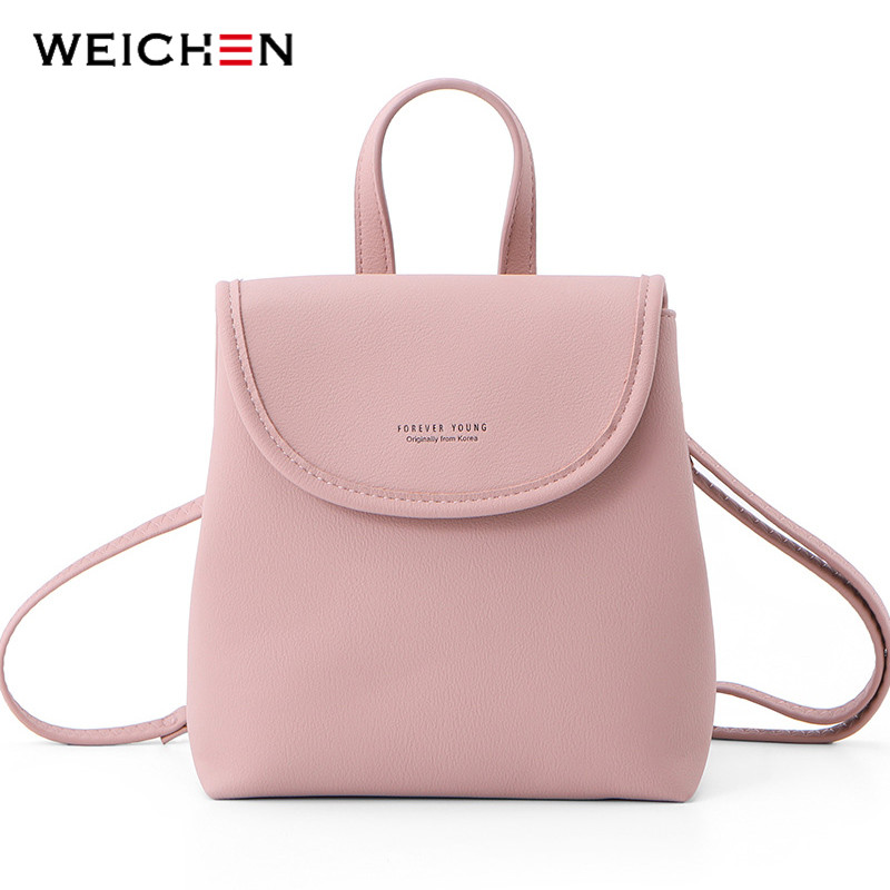 WEICHEN New Women Backpack Fashion Leather Small Bagpack Female Mochila Shoulder Bag Ladies Bolsos Girl Sac A Dos High Quality