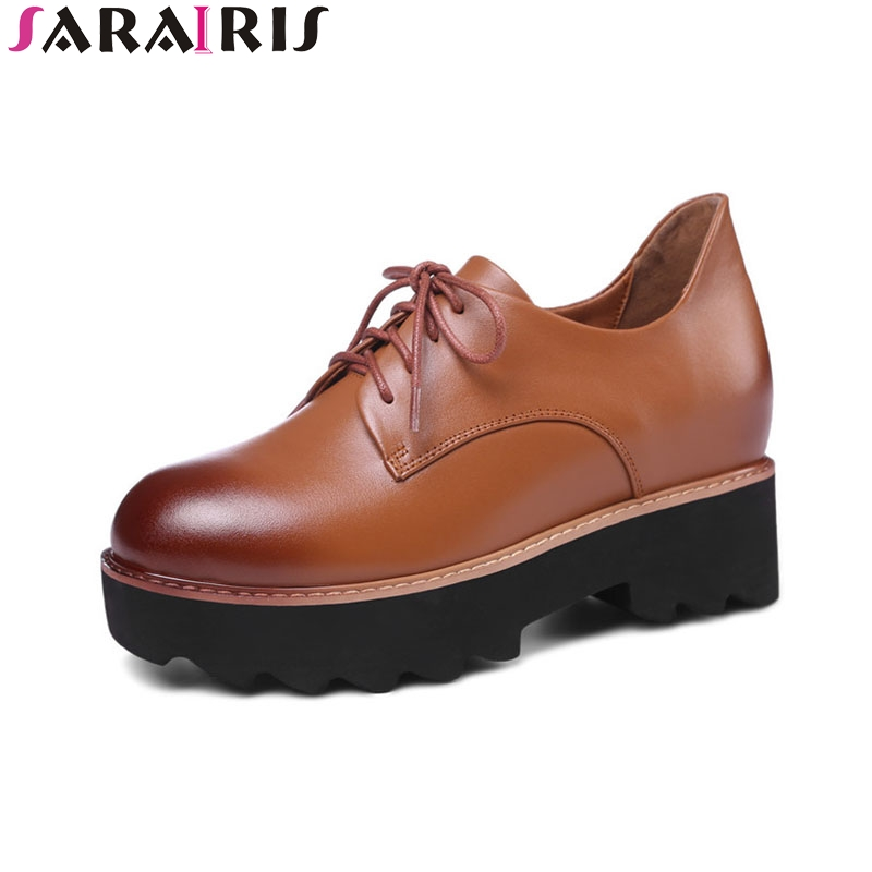 SARAIRIS 2018 Spring Autumn Fashion Genuine Leather Women Flat Platform Shoes Woman lace-up Mixed Color Height Increasing brand new spring shoes woman genuine leather fashion lace up women flat shoes casual platform shoes women