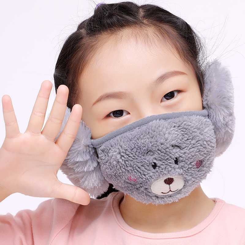 New 1 Pc Cotton Health Cycling Anti-Dust Mouth Face Boys And Girls  Masks With Earmuffs Warm Winter Fashion Accessory