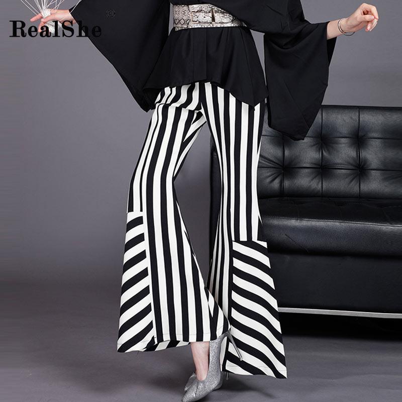 RealShe 2019 Summer   Wide     Leg     Pants   Women High Waist Zipper Striped Flare   Pants   Elegant   Pants   Ladies Casual Loose Trousers