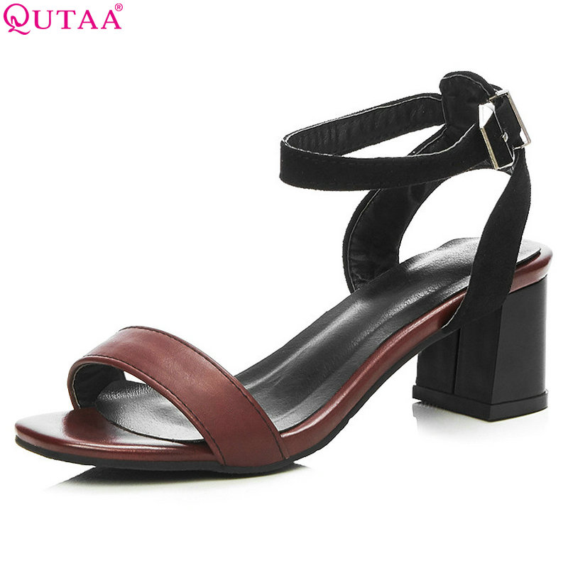 Sandalias Pu Cuadrado Señoras 34 Moda brown Tacón Cuero 42 Negro Qutaa Las Pie Zapatos Mujeres Badn4q4x