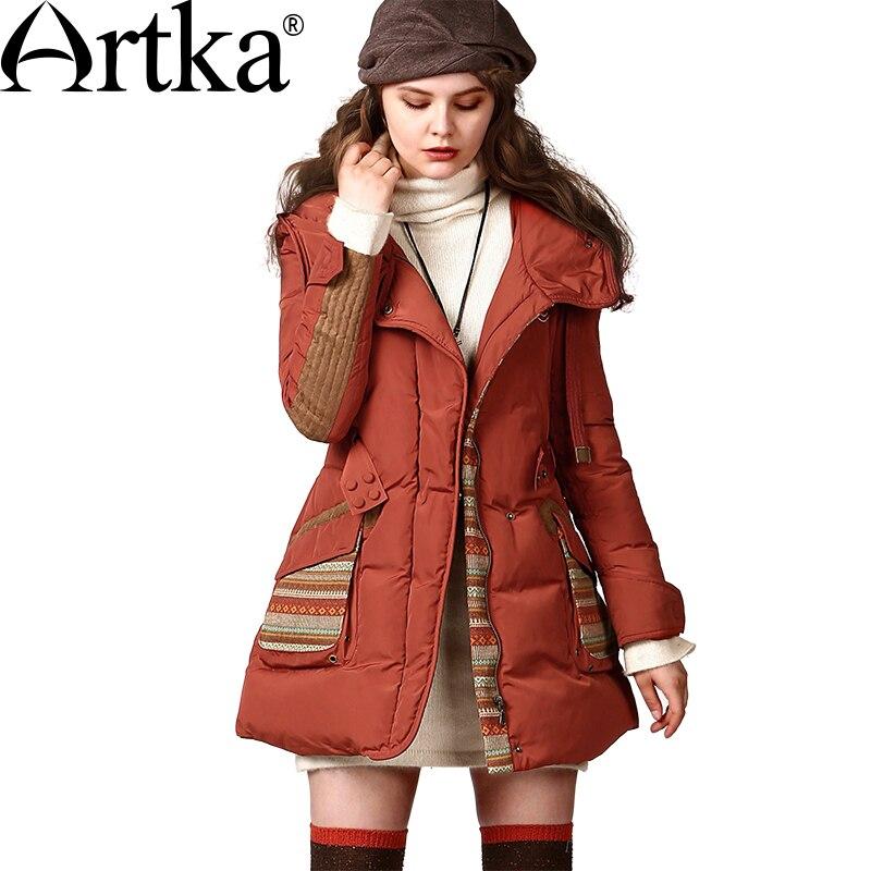 Artka женская зима год сбора винограда с капюшоном полный рукавом вышивка шнурок регулируемый пояс белая утка вниз пальто ZK13647D 12.12