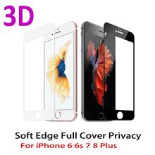 3D zakrzywiona krawędź Pełna osłona ekranu Protector dla iPhone 7 6S 8 szkło hartowane na iPhone 6 s 7 8 plus szkło ochronne film tanie tanio Telefon komórkowy Łatwa instalacja Ultra cienka odporna na zarysowania iPhone 6 Plus iPhone 7 iPhone 6s iPhone 8 iPhone 7 Plus iPhone 6s Plus iPhone 6 iPhone 8 plus
