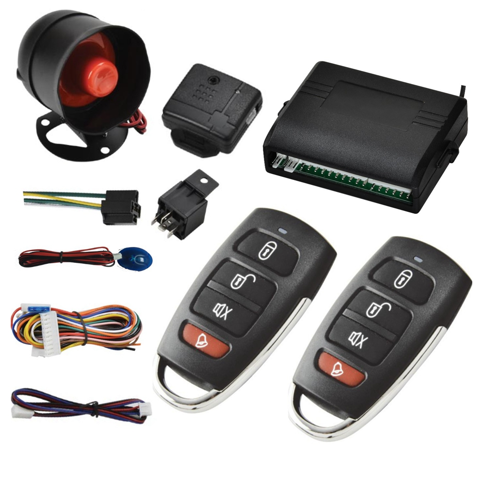 NEW Universal 1 Way Vehicle Car Alarm System Protection Security Key less Entry Siren 2 Remote Control Burglar hot sale auto kit