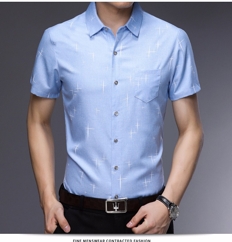 2018 new men's cotton short sleeve shirt pure color business trim half sleeve shirt manufacturers direct selling