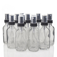 12pcs 60ml Clear Glass Bottle with Mist Spray Empty Refillable Travel Portable Essential oil Aromatherapy Perfume Atomizer 2 Oz