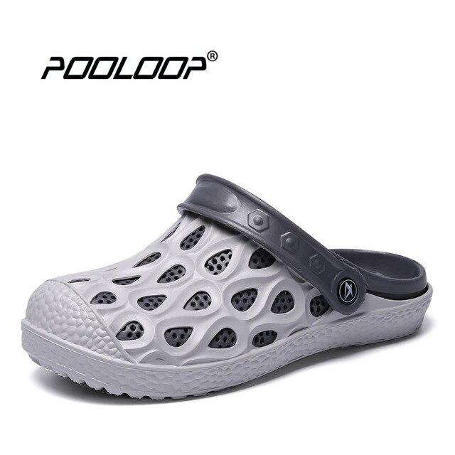 pooloop slip on casual crocus clogs classic mens garden shoes comfortable beach pool sandals big size - Mens Garden Shoes