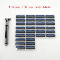 1 Razor Holder 30 Pcs Three Layer Razor Blade Men Safety Handle Shaving Razor 3 Blades