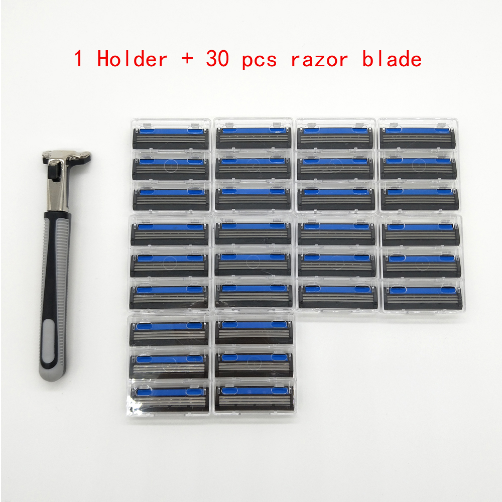 1 <font><b>Razor</b></font> Holder + 30 Pcs Three Layer <font><b>Razor</b></font> <font><b>Blade</b></font> Men Safety Handle Shaving <font><b>Razor</b></font> <font><b>3</b></font> <font><b>Blades</b></font> Shaver Standard Trimmer Replacement image