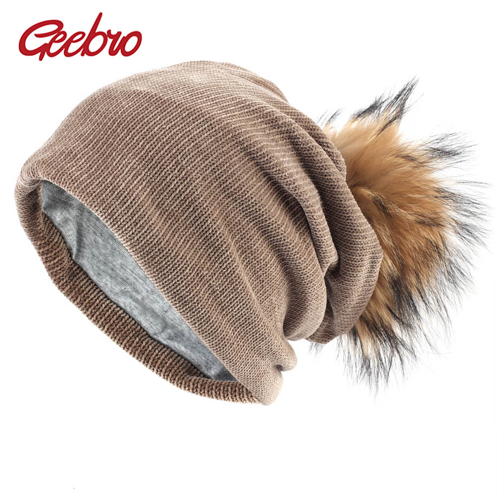 41d4cb2d4df Geebro Women s Beanie Hat with Raccoon Pompom Winter Polyester Ribbed  Slouchy Beanie for Women Double Layer