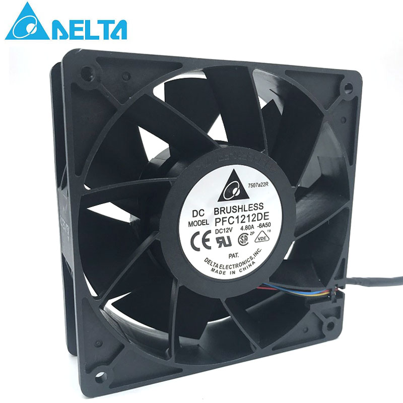 Original Delta PFC1212DE For Bitcoin GPU miner powerful cooling fan 120*120*38mm 12V PWM 4-pin 252.8 CFM 5500 RPM66.5 dB(A) original delta afb1212hhe r00 dc12v 0 70a 3wires 120 120 38mm 12cm alarm signal cooling fan