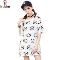European T Shirt Summer Women 2017 Cute Panda Print Loose Soft White Fashion Graphic Tees Women