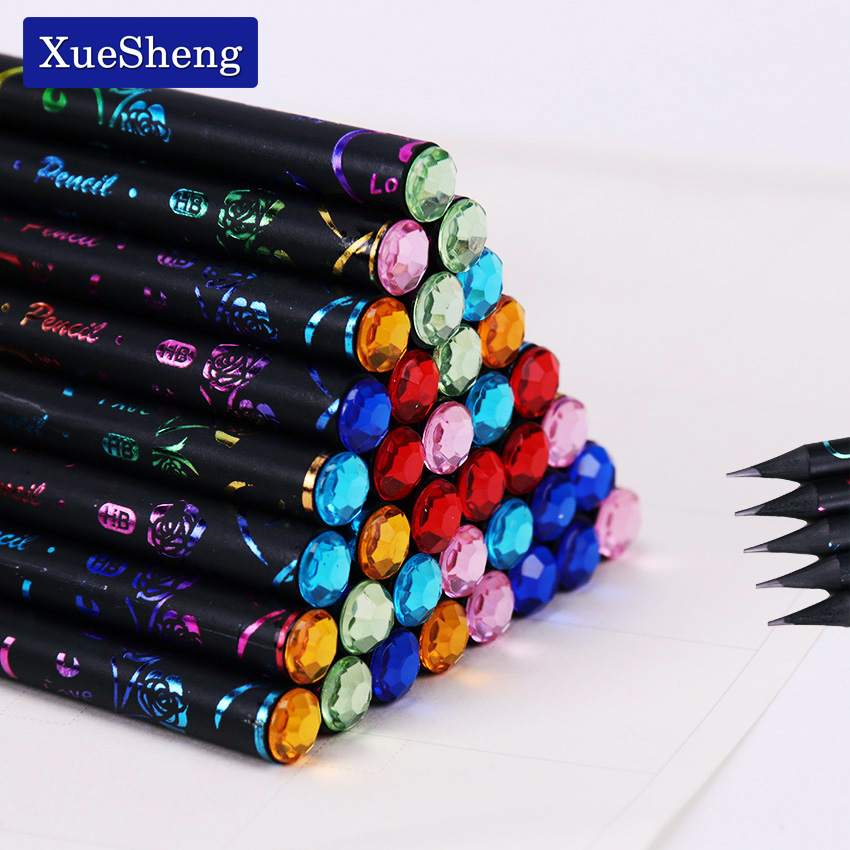 6PCS/Set DIY Pencil HB Diamond Printing Color Pencil Stationery Items Drawing Supplies Cute Pencils School Office Stationery(China)