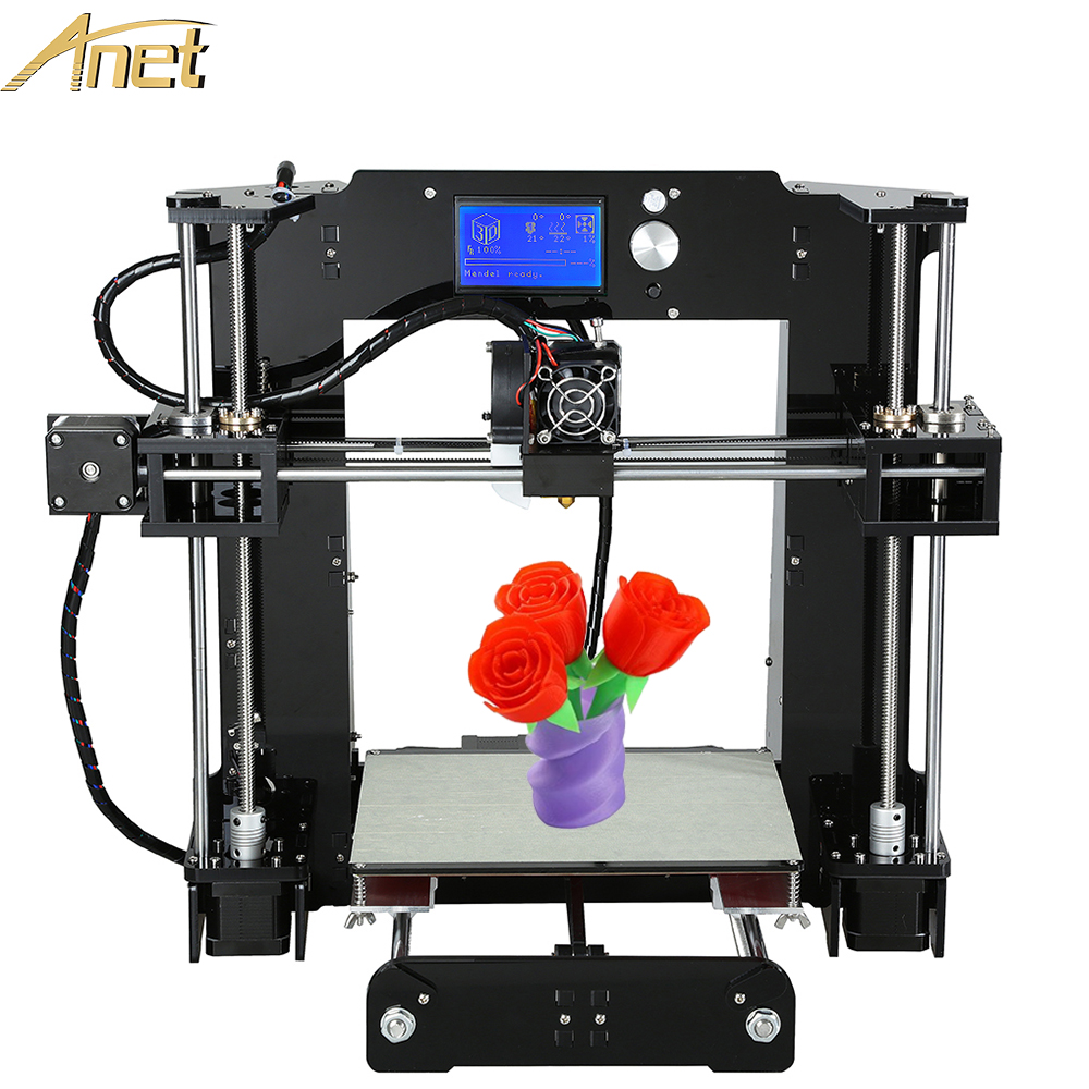 Anet A6 Desktop 3D-Printer Easy Assemble DIY Reprap Prusa i3 3D Printer Kit With Free Filaments 16GB Card  LCD SD card Tolls
