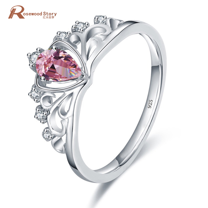 Charms Female Girls Pink Princess Crown Ring Promise White Gold 925 Silver Crystal Wedding Engagement Rings Fashion Jewelry