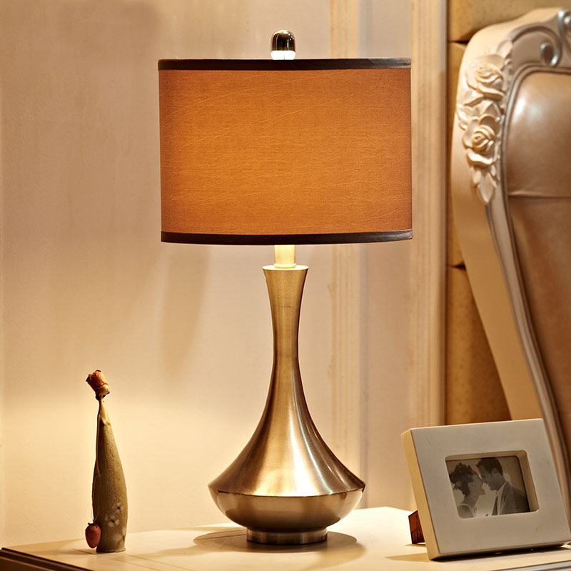 Indoor Lighting E27 Bulb Holder Table Lamp Metal Base Light Fabric Lampshade Lamps Bedside Table Lights Night Bar Home lighting|bedside table lights|table light|table lamps metal - title=