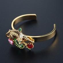 Francesa Les Nereides Noble de lujo Leopard joya brazalete de la flor para para del partido pulseras brazaletes