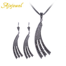 Ajojewel Brand Black Jewelry Sets For Women Full Rhinestone Big Earring Vintage Set 2016 New Festival Gift