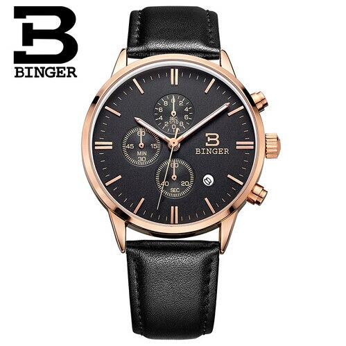 ФОТО Switzerland Binger CHRONOGRAPH 24 Hours Watch Men Genuine Leather Watches Analog Display Quartz Business Watch Casual relogio